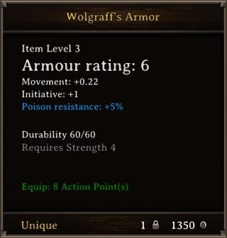 DOS Items Unique Wolgraff's Armor Stats