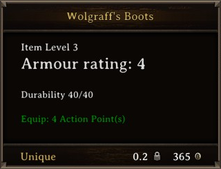 DOS Items Unique Wolgraff's Boots Stats