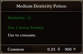 DOS Items Pots Medium Dexterity Potion Stats