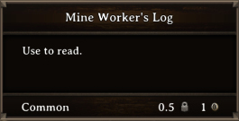 DOS Items Books Mine Worker's Log