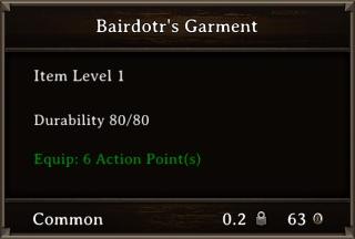 DOS Items Unique Bairdotr's Garment Stats