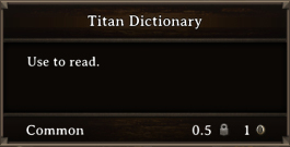 DOS Items Quest Titan Dictionary