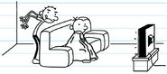 Greg used the blanket to cover himself while watching and Rodrick hovering over him