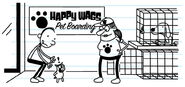 Frank releases The Heffley's Pig into a kennel at pet boarding