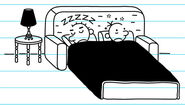 Greg and Rodrick sleeping on a pull-out couch