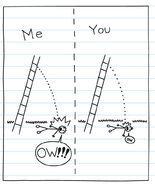 A diagram of Greg and Rodrick falling from ladder