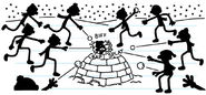 Neighborhood kids attacking Greg with snowballs on the igloo