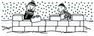 Greg and Rowley building a snow fort