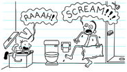 Greg scares Frank in the shower