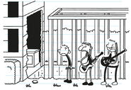 Rodrick and his bandmates are disappointed to see the opened wall