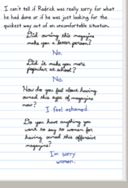 The questions and answers Susan and Rodrick wrote in the online book
