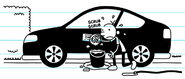 Greg washes the car