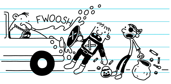 Greg and Rowley get sprayed by a teenager