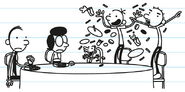 Greg, Rodrick and Manny jumping in joy about the inheritance money