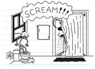 Susan screams at Greg while showering in the bathroom