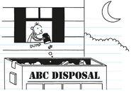 Greg disposes his rubbish bin into the skip