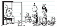 Aunt Gretchen sees bunnies in Heffley's house