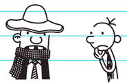 Greg looks at Rowley with a get-up fashion