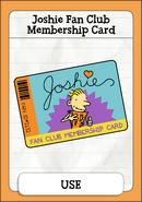 Joshie Fan Club Membership Card