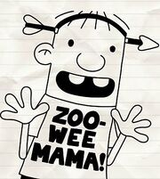 Rowley in a Zoo Wee Mama! shirt