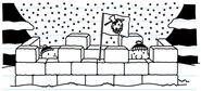 Greg and Rowley hide in snow fort