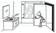 Greg checks on the bathroom to see the sink slorping