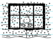 Greg sees snow outside