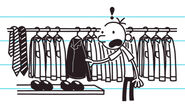 Greg founds Frank's black leather jacket in his closet