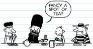 Rowley giving Greg a tea during lunch