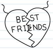 Best Friends in a broken heart on necklace