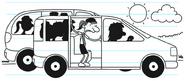 Girl Scouts at van