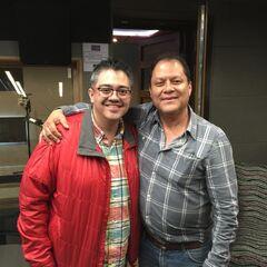 Lalo Garza y José Luis Orozco tras finalizar la grabación del trailer