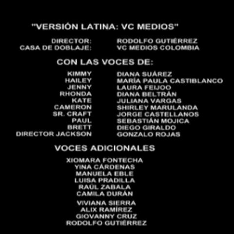 Créditos de doblaje (doblaje colombiano).