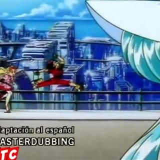 Crédito del redoblaje en el primer ending.