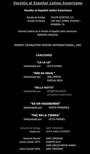 LaDamaYElVagabundo Créditos2