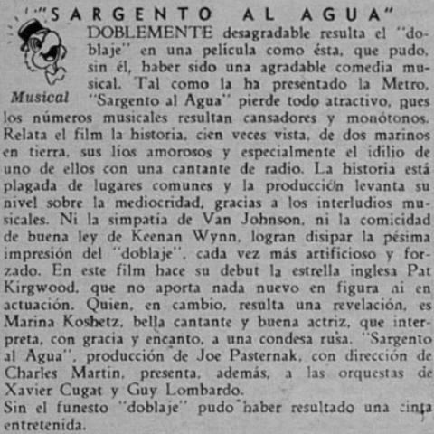 Control de Estrenos. Revista Ecran 1947.