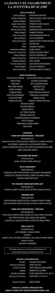 Doblaje Latino de La Dama y el Vagabundo 2 Las Aventuras de Scamp (Edición Especial 2012)