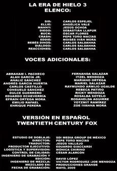Doblaje Latino de La Era de Hielo 3 (2)