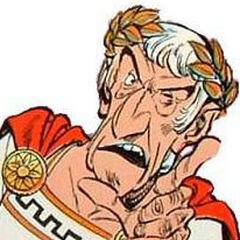 Julio César en el redoblaje de las primera películas de Astérix y Obélix.