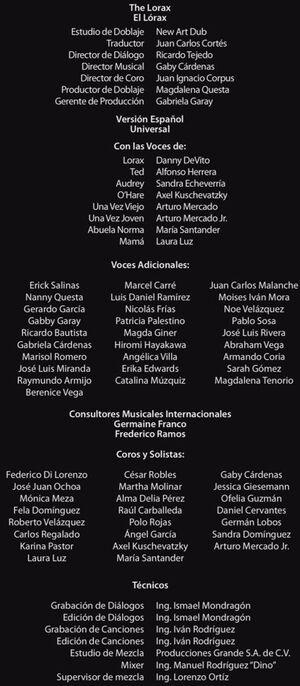 Doblaje Latino de El Lórax en Busca de la Trúfula Perdida