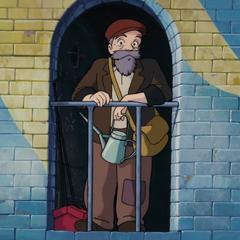 Anciano en la torre del reloj en <a href=