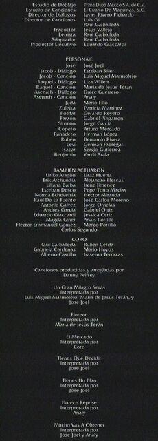 Doblaje Latino de José, El Rey de los Sueños