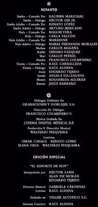 Doblaje Latino de El Rey León (Edición Especial 2003)
