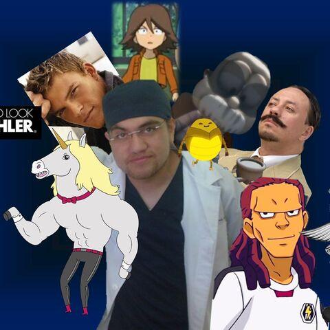 Collage de Jorge y algunos de sus personajes.