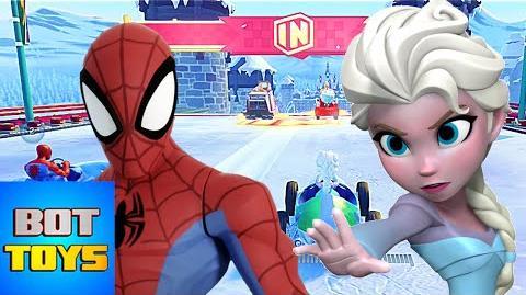 Elsa y Hombre Araña con Carros Divertida Carrera de Caricaturas Gameplay Disney Infinity 3