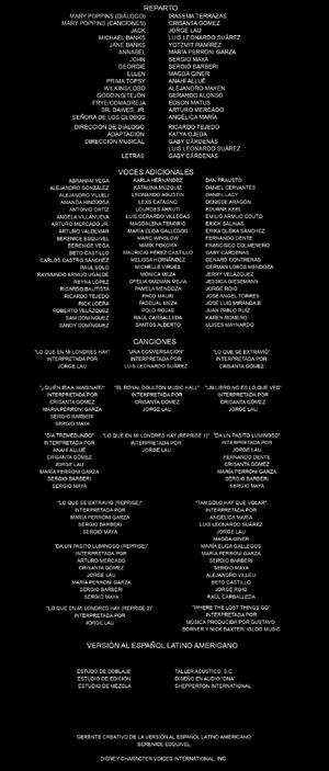 Doblaje Latino Mary Poppins Returns Creditos Netflix USA