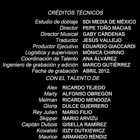Créditos del DVD<br />(excepto de los personajes: Vitaly, Gia y Stefano)