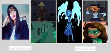 Andrea y algunos de sus personajes