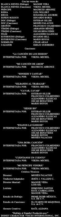 BlancanievesDisney-redoblaje2001 créditos
