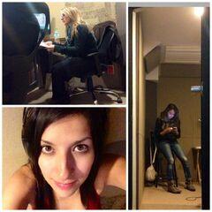 Maggie Vera, Melissa Gedeon y Carla Castañeda durante la grabación de las canciones. (10/04)